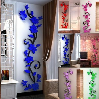 3D Rose Flower Wall Sticker Removable PVC Home decor Decal Room Vinyl DIY