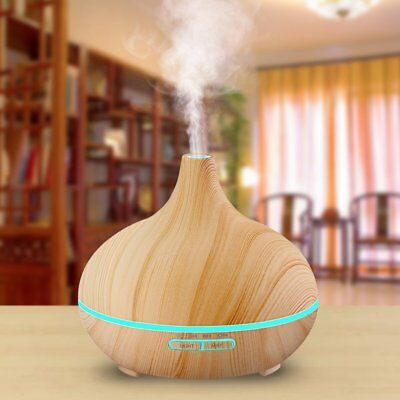 300ml Cool Mist Humidifier Ultrasonic Aroma Essential Oil Diffuser Wood Grain