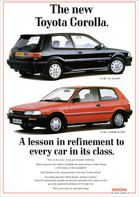 TOYOTA COROLLA GTi16 GT-i 16 RETRO A3 POSTER PRINT FROM CLASSIC 80's ADVERT