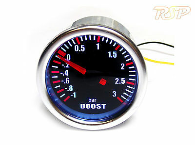 Universal 52mm Smoked 3 Bar Boost Gauge Audi A3 S3 A4 TT 1.8 2.0 Turbo