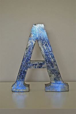 Large 14 inch 3 dimensional metal sign letter A blue metallic finish shop font