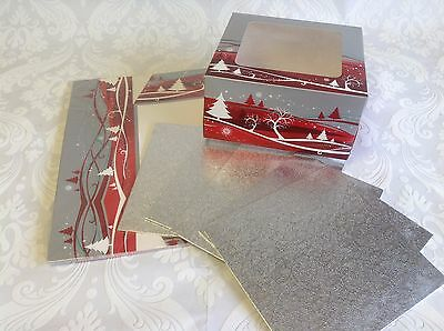 "PACK of 5 Christmas Design 8"" Gateaux Cake Boxes plus 8"" Square boards"