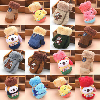 Winter Warm Thick Fur Mittens Gloves Cute Infant Baby Kid Girl Boy Acrylic Glove