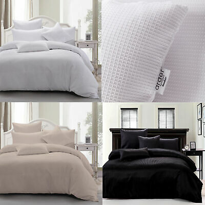 White Linen Black - Waffle Weave Quilt Doona Cover Set SINGLE DOUBLE QUEEN KING