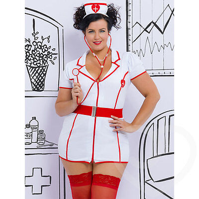 Lovehoney Fantasy Plus Size Lingerie Naughty Nurse Costume White One Size Queen