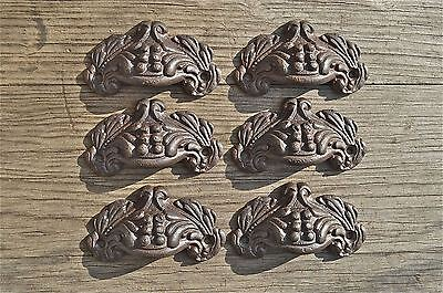 A set of 6 small Victorian acanthus cast iron drawer pull furniture handles AL8