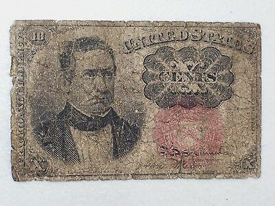 1874 Us Ten Cents Fractional Currency Bank Note