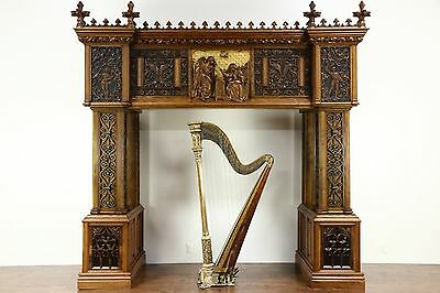 Gothic Hand Carved Oak Angel & Music Architectural Salvage Mantel, Bed, Archway