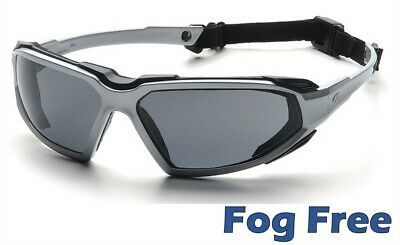 Pyramex Highlander Safety Glasses with Silver / Black Frame Gray Anti - Fog Lens