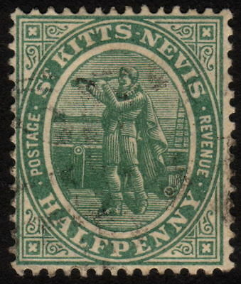 1905, St. Kitts Nevis 1/2p, Used, Sc 12