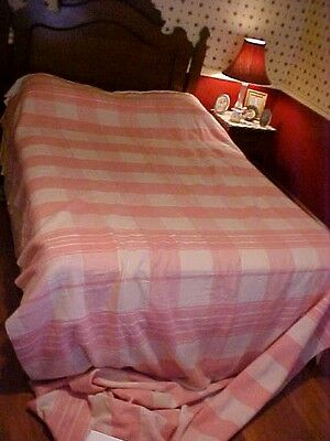 Vintage Camp Blanket,  Ex Long 12+' ;pink And White
