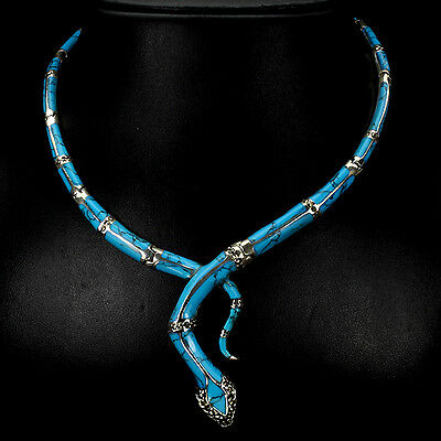 Sterling Silver 925 Genuine Natural Turquoise & Marcasite Snake Necklace 16 Inch