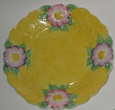Bright YELLOW w/Pink & Purple FLOWERS Vintage JAMES KENT China ENGLAND Plate