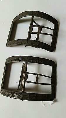 Pair Antique ornate  18th Century Shoe Buckles Brass COLONIALRevolutionary war