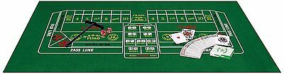 "Casino Blackjack Craps Set with Felt Dice Rake Playing Cards and Puck 18"" x 36"""