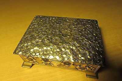 Vintage Metal Floral Design Cigarette Box With Wooden Inlay