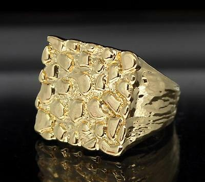 Nugget 14k Gold Plated Square Pinky Fashion Bling Hip Hop Ring Size 5-13