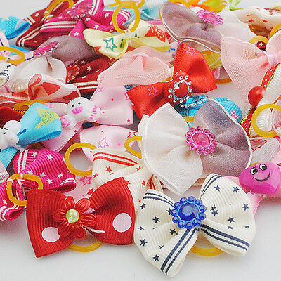 20PCS Mix Style Pet Dogs Hair Bands Rhinestone Bows Grooming Product Z0224