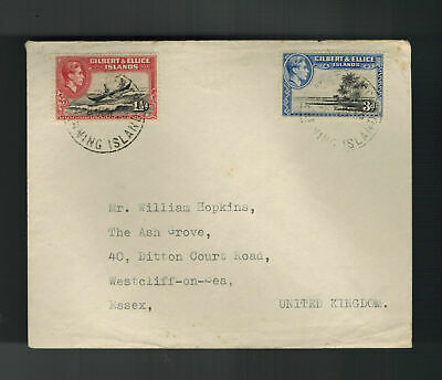 1953 Gilbert Ellice Island  Cover to England