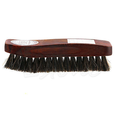 Practical Horse Hair Professional Shoe Shine Polish Buffing Brush Wooden NEW