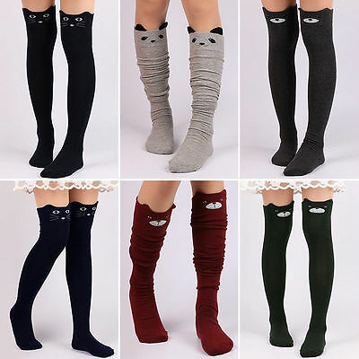 Girls Cotton Cute Kitty Cat Over Knee Thigh High Long Socks Tights Stockings