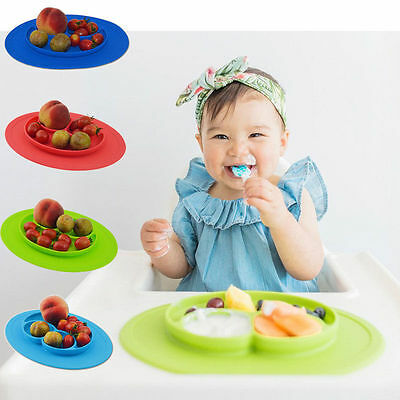 One-piece silicone placemat + plate Tray Baby Toddler Kids Suction Table Food