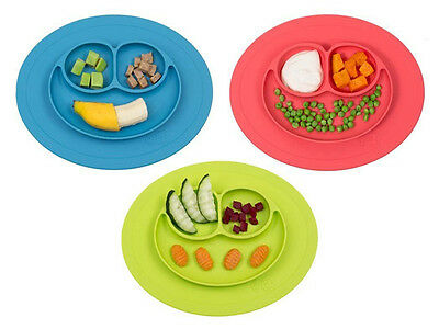 Cute One-piece silicone placemat + plate Tray Baby Toddler Kids Suction Table