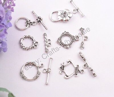 10Sets Tibetan Silver Connector Toggle Charm Clasps Jewelry Findings