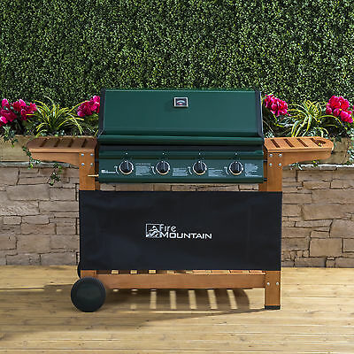 Fire Mountain Elbrus 4 Burner Gas Barbecue in Powder-Coated Steel and Wood with