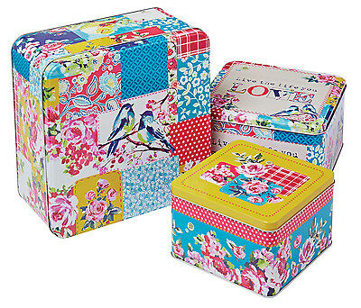 Cooksmart 3 x Oriental Patchwork Square Storage Cake Tins Container Box Multi