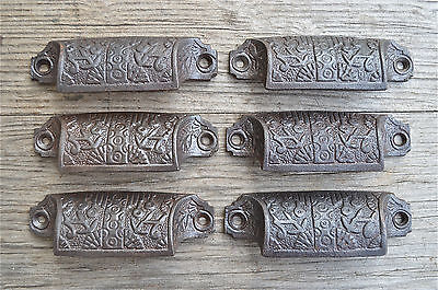 A set of 6 Eastlake cast iron drawer pull furniture handles chest draw AL17