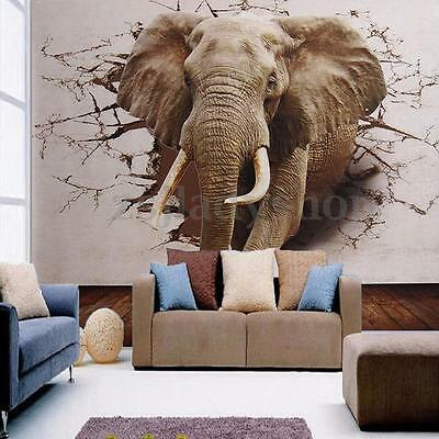 Non Woven 3D Wall Sticker Bedroom Mural Roll Elephant Modern Background Home