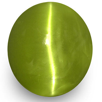 2.96-Carat Yellowish Green Chrysoberyl Cat's Eye with Strong Chatoyance