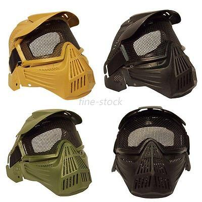 Full Face Safety Mask Tactical Airsoft ABS Metal Mesh Goggles Protection Mask UK