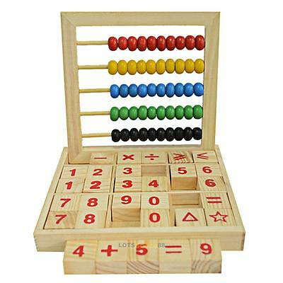 Wooden Abacus 5-row Beads Counting Kids Maths Learning Educational Toy Xmas Gift