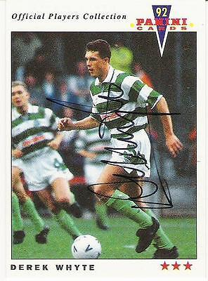 A Panini 92 card featuring & personally signed by Derek Whyte of Celtic.