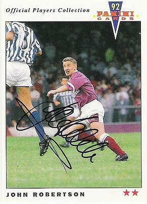 A Panini 92 card featuring & personally signed by John Robertson of Hearts.