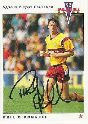 A Panini 92 card featuring & personally signed by Phil O'Donnell of Motherwell.