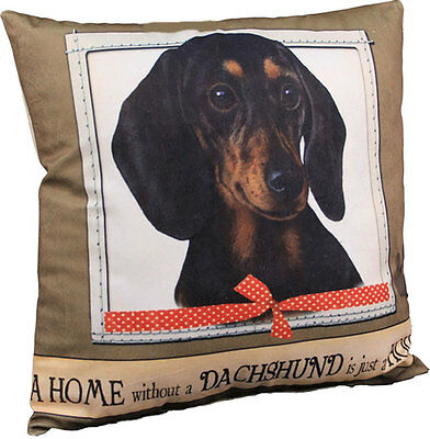 Dachshund Pillow 16×16 Polyester Black