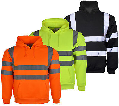 Hi Vis High Visibility Sweatshirt Hooded Jumper Fleece Workwear Hoodie