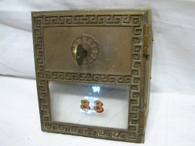 Antique USPS Greek Key Mail Post Office Box Door US Brass Yale Lock w/Key PO 88