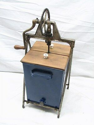 Antique Frame Style 4-6 Qt tin Metal Butter Churn Dairy Farm Tool Primitive
