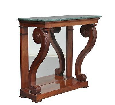 19Th Century French Mahogany Marble Top Console Table