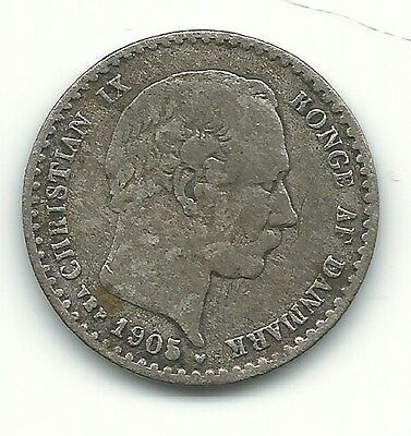 Very Nicely Detailed 1905  Denmark Silver 10 Ore-Oct322