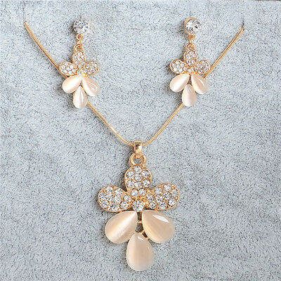 Fashion Necklace Earrings 18K Gold Plated opal Crystal Wedding Jewelry Set