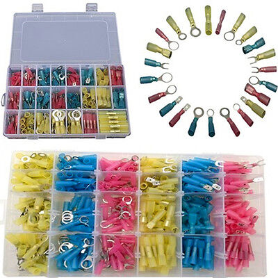 240pcs Insulated Heat Shrink Electrical Connector Crimp Terminals Ring Butt Kit
