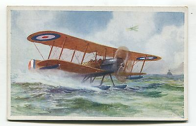 British RAF sea-plane -  Fairey Flycatcher? - old artistic postcard