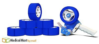 "2"" x 110 Yds Blue Color Packing Tape 2 Mil 6 Rolls + (1) Free 2"" Gun Dispenser"