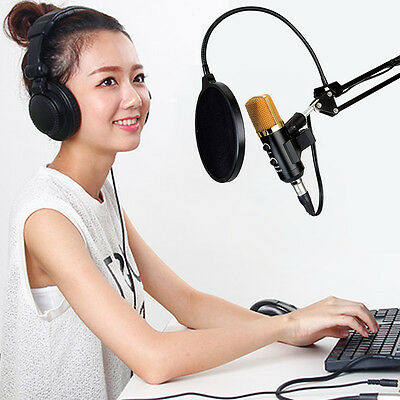 New Black USB Microphone Mic Studio Recording with Shock Mount For Singing
