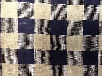 French Vintage Linen Gingham Check Navy Blue Grey Curtain/upholstery Fabric